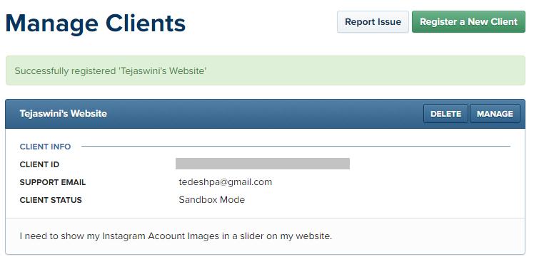 New Client or App registered successfully on Instagram Developer Platform