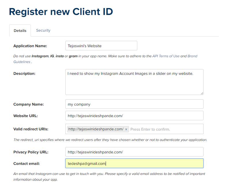 Registering Instagram Client for API use